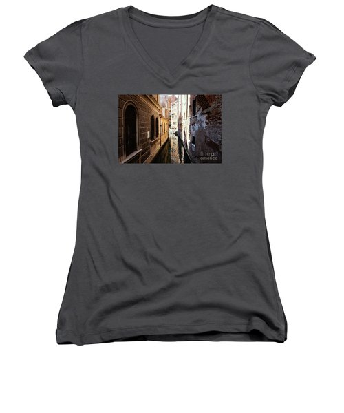 A Shadow In The Venetian Noon Narrow Canal Women's V-Neck