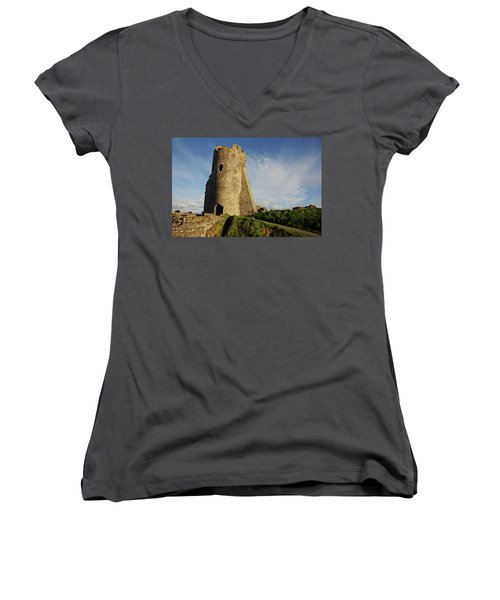 Aberystwyth. The Castle Gatehouse. Women's V-Neck