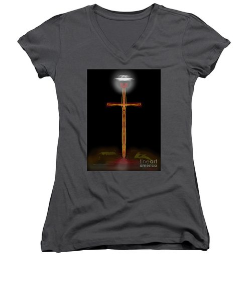 Abstract Cross With Halo Women's V-Neck