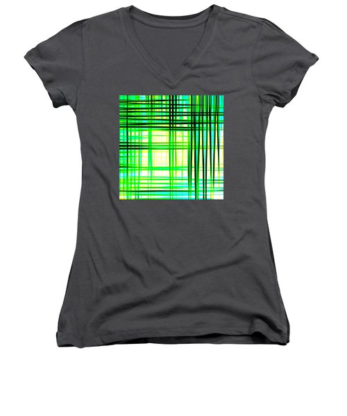 Abstract Design With Lines Squares In Green Color Waves - Pl409 Women's V-Neck