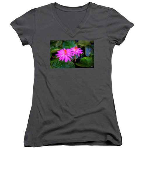 Abstracted Water Lilies Women's V-Neck