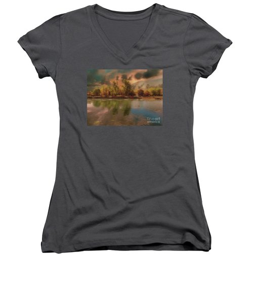 Women's V-Neck featuring the photograph Across The Water by Leigh Kemp