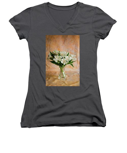 Alstroemeria Bouquet On Canvas Women's V-Neck