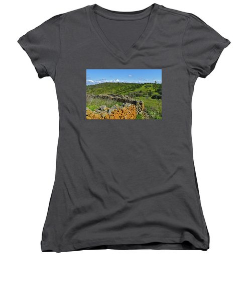 Antique Stone Wall Of An Old Farm Women's V-Neck