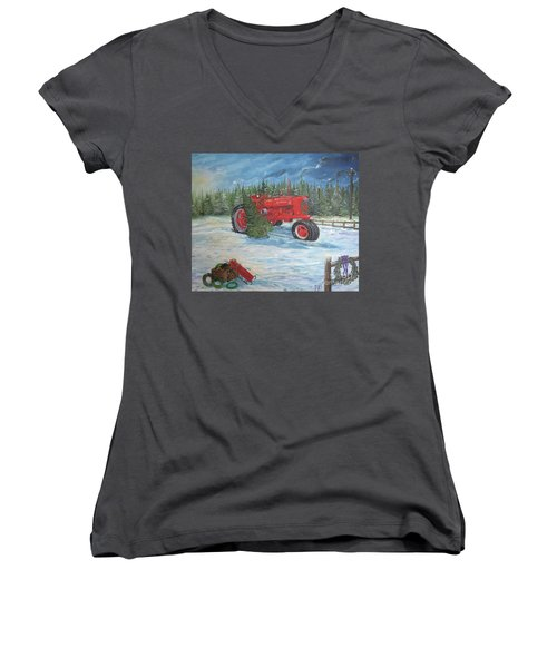 Antique Tractor At The Christmas Tree Farm Women's V-Neck