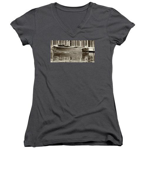 Antique Wooden Boat By Dock Sepia Tone 1302tn Women's V-Neck
