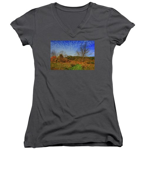 Women's V-Neck (Athletic Fit) featuring the photograph Appalachian Trail Massachusetts In The Fall by Raymond Salani III