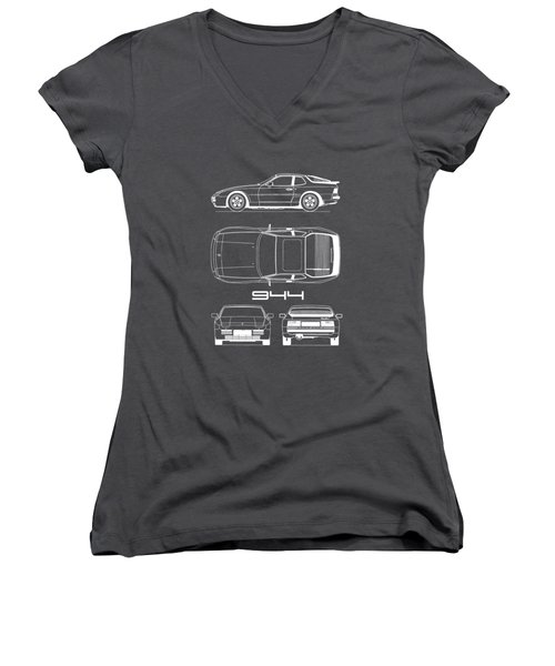 Porsche 944 Blueprint Women's V-Neck