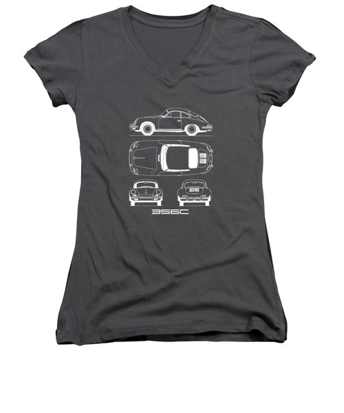 Porsche 356 C Blueprint Women's V-Neck