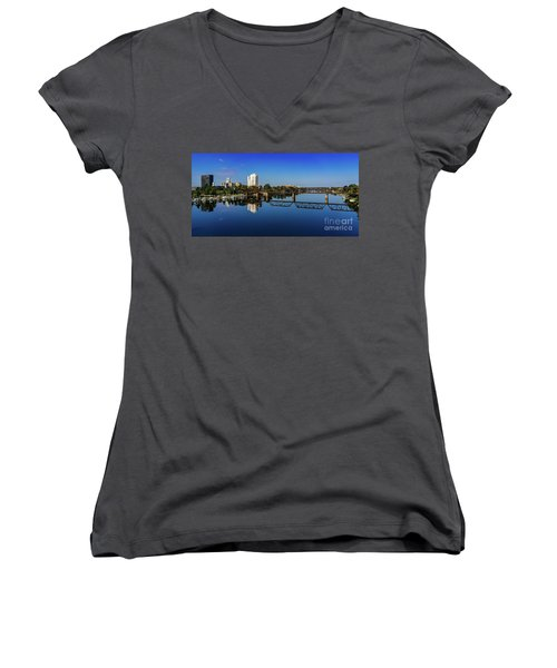 Augusta Ga Savannah River Panorama Women's V-Neck