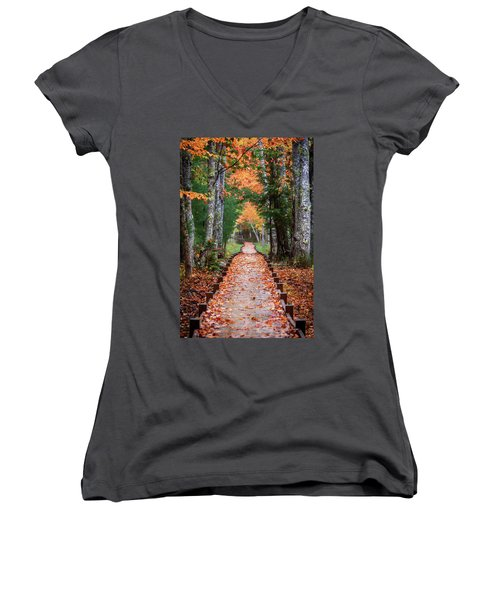 Autumn At Jesup Path Women's V-Neck (Athletic Fit)