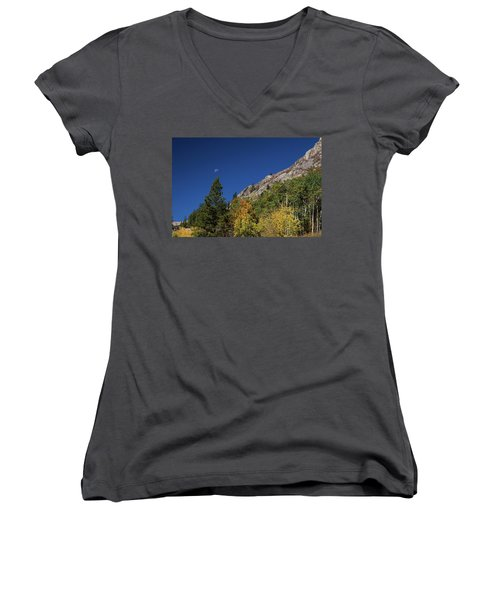 Women's V-Neck featuring the photograph Autumn Bella Luna by James BO Insogna