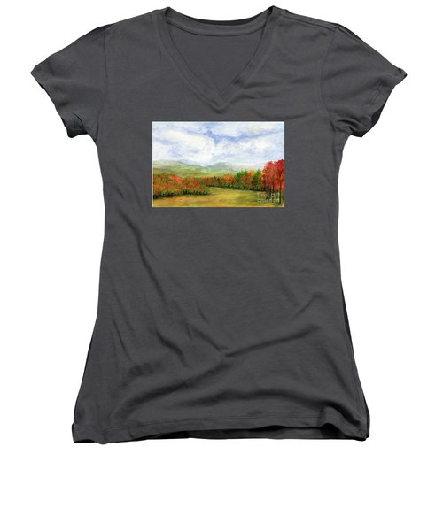 Autumn Day Watercolor Vermont Landscape Women's V-Neck