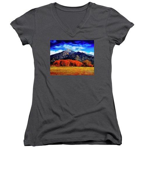 Autumn In Taos New Mexico Women's V-Neck