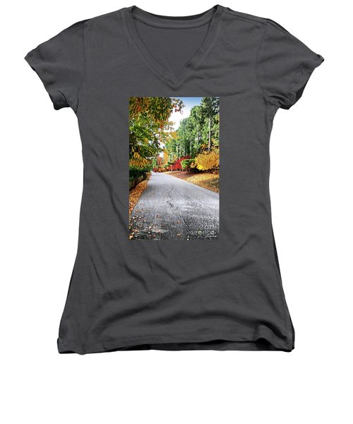 Autumn Road  Women's V-Neck