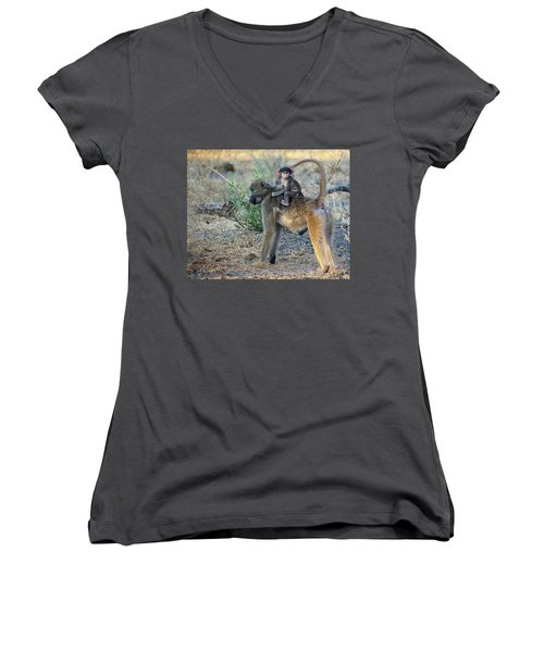 Baboon And Baby Women's V-Neck