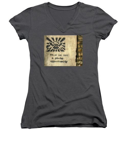 Banksy's This Is Not A Photo Opportunity Women's V-Neck