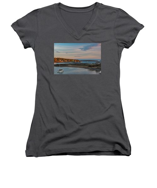 Women's V-Neck featuring the photograph Bass Harbor Sunset by Rick Hartigan
