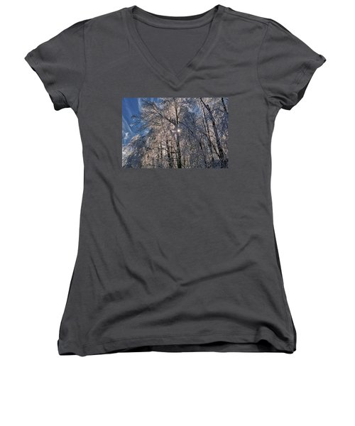 Bass Lake Trees Frozen Women's V-Neck
