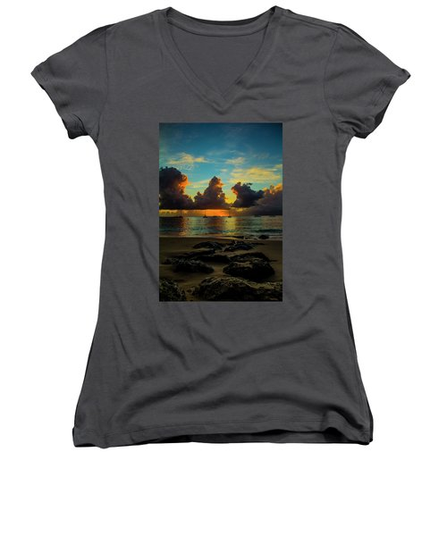 Beach At Sunset 2 Women's V-Neck