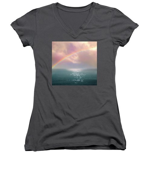 Beautiful Morning In Dreamland With Rainbow Women's V-Neck