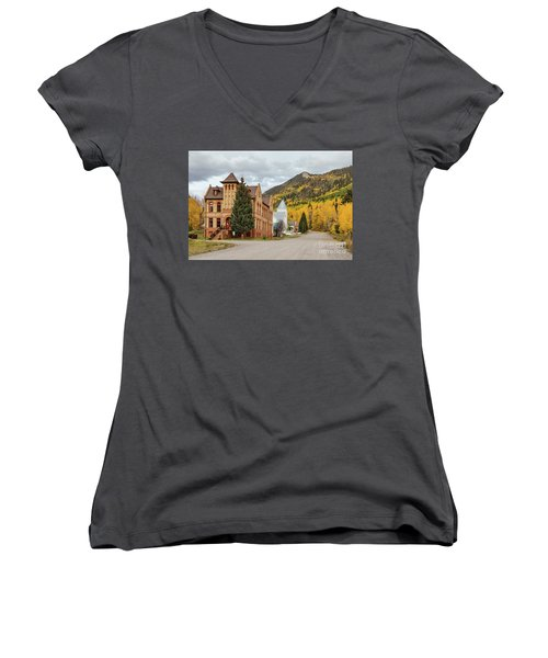 Women's V-Neck featuring the photograph Beautiful Small Town Rico Colorado by James BO Insogna