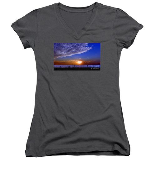 Beautiful Sunset With Ships And People Women's V-Neck