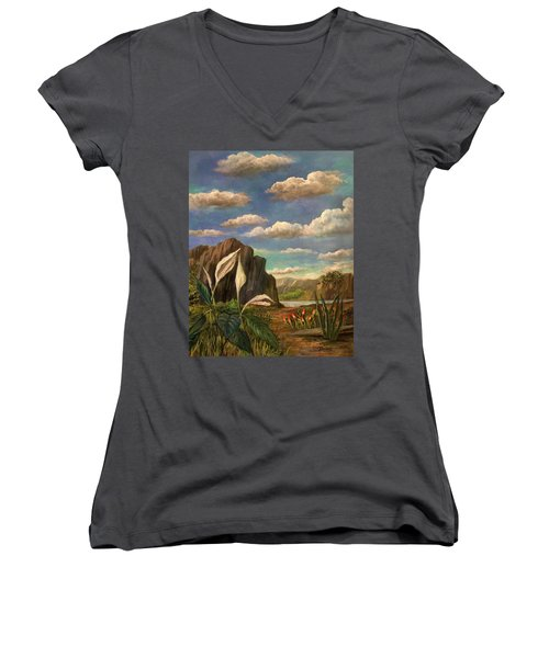Beneath The Clouds Of Africa Women's V-Neck