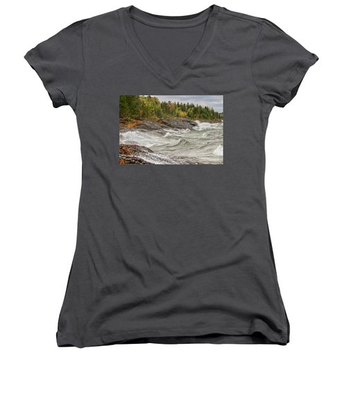 Big Waves In Autumn Women's V-Neck