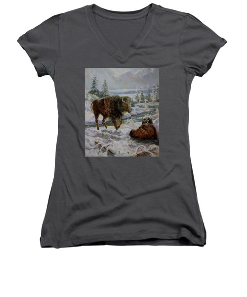 Bison In Yellowstone In The Winter Women's V-Neck