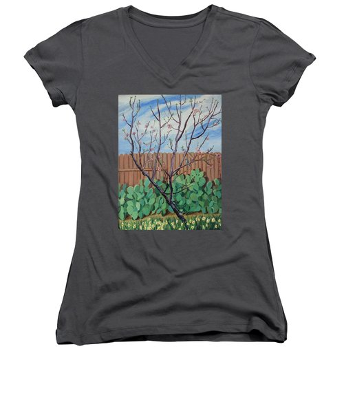 Blooming Peach In Our San Antonio Backyard Women's V-Neck