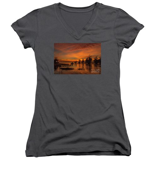 Blue Cypress Sunrise With Boat Women's V-Neck
