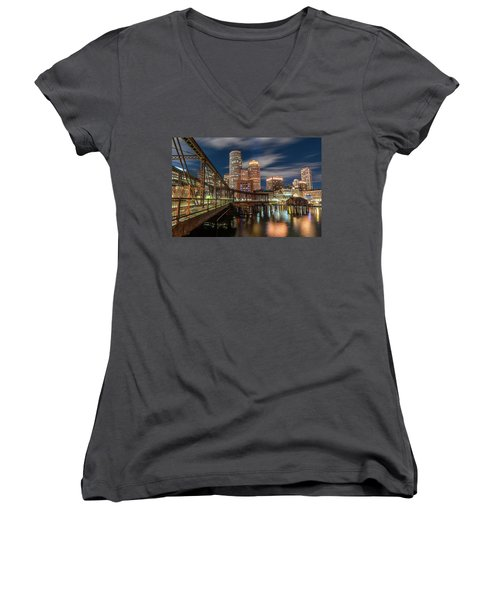 Blue Hour In Boston Harbor Women's V-Neck (Athletic Fit)
