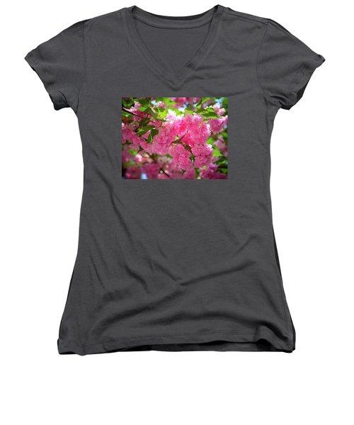 Bright Pink Blossoms Women's V-Neck
