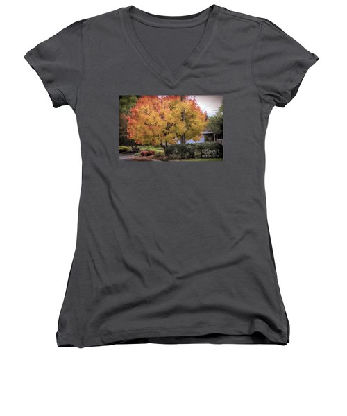 Brilliant Fall Color Tree Yellows Oranges Seasons  Women's V-Neck