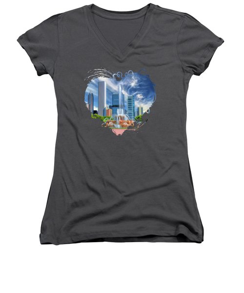 Buckingham Fountain Chicago Skyscrapers Women's V-Neck