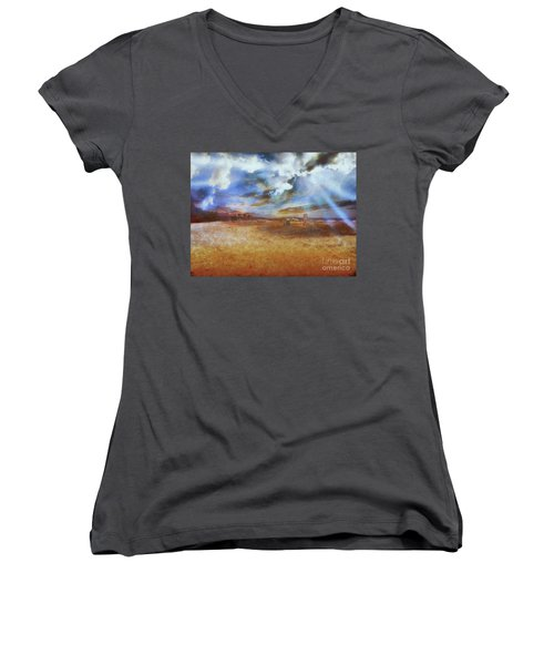 Women's V-Neck featuring the photograph Burning Sand  by Leigh Kemp