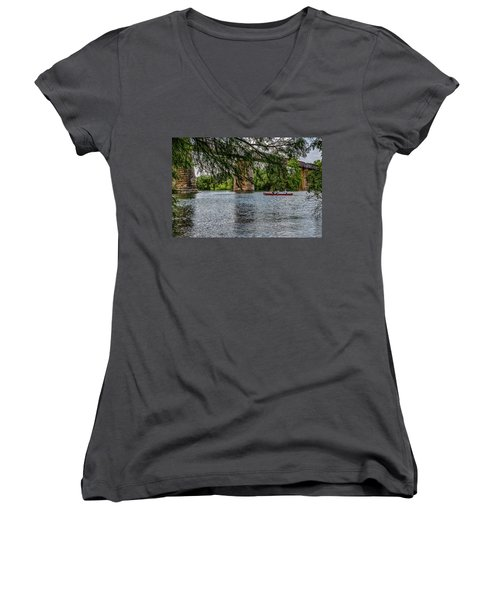 Canoeing Lady Bird Lake Women's V-Neck