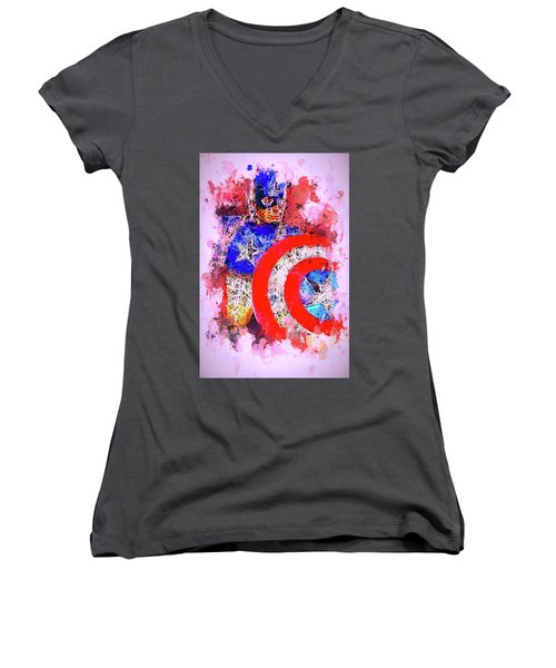 Captain America Watercolor Women's V-Neck