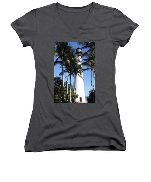 Cape Florida Lighthouse - Key Biscayne, Miami Women's V-Neck