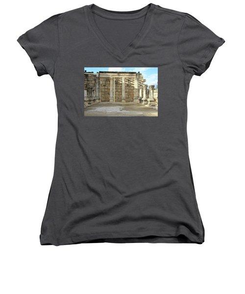Capernaum, Israel - Synagogue Women's V-Neck