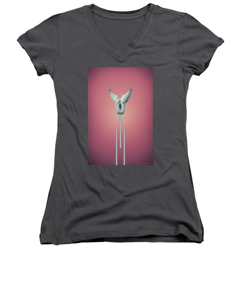 Cherry Vitium - Abstract Geometric Bone Art Women's V-Neck
