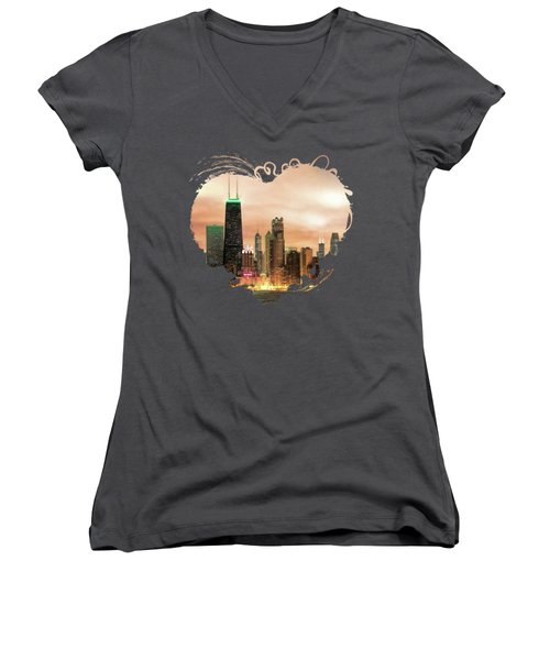 Chicago Gotham City Skyline Panorama Women's V-Neck