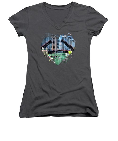 Chicago River Boat Migration Women's V-Neck