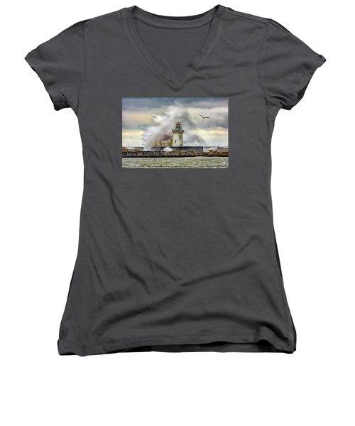 Cleveland Lighthouse Storm  Women's V-Neck