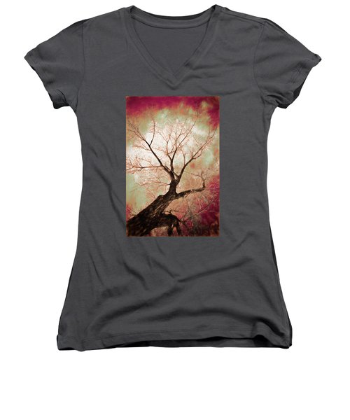 Women's V-Neck featuring the photograph Climbing Red Fiery by James BO Insogna