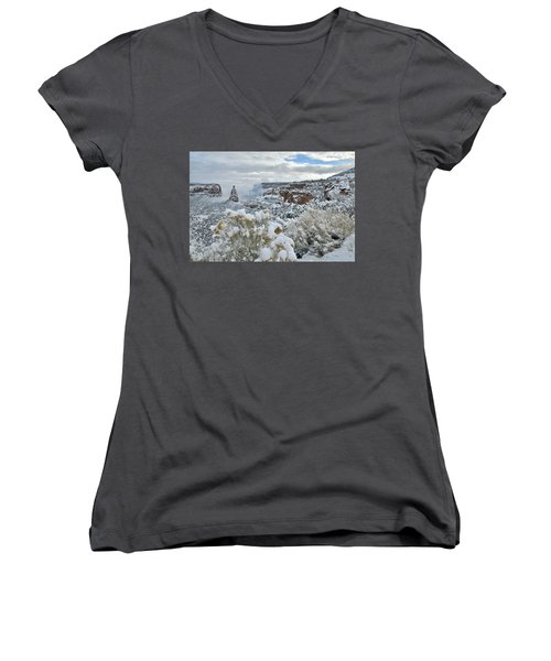 Clouds Break Over Snow Covered Independence Canyon Women's V-Neck