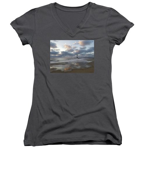 Cloud's Reflections At The Inlet Women's V-Neck