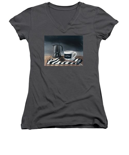 Women's V-Neck featuring the painting Coffee Time by Fe Jones