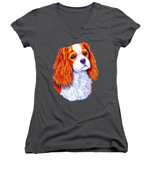 Colorful Cavalier King Charles Spaniel Dog Women's V-Neck